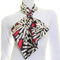 Navy Abstract Pattern Satin Tie Scarf