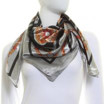 Chains & Straps Square Satin Scarf (Black)