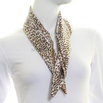 Brown Animal Print Square Satin Scarf