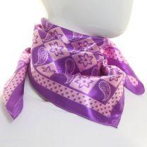 Purple Paisley Square Satin Scarf