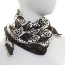 Black Paisley Square Satin Neck Scarf