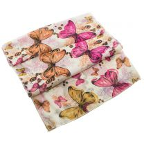 Butterfly Design Cream Chiffon Scarf