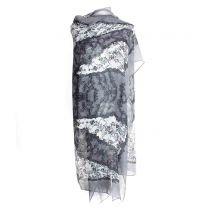 Grey Floral Pashmina - Large