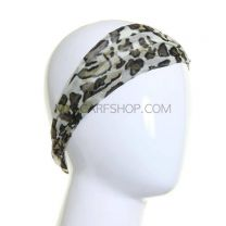 Khaki Glitter Abstract Print Wide Headband