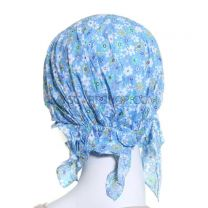 Blue Floral Cotton Headwrap