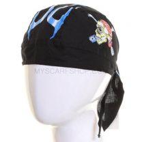 Black Skull Print Cotton Zandana