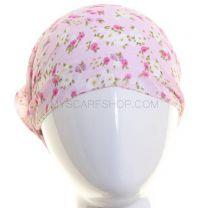 Pink Floral Chiffon Headwrap