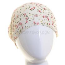 Cream Floral Chiffon Headwrap
