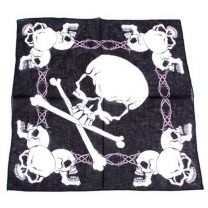 Black Crazy Skulls Printed Bandana