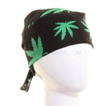 Black & Green Hemp Leaves Bandana