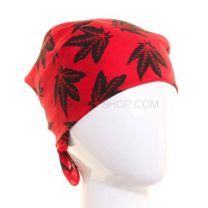 Red Hemp Leaves Printed Bandana