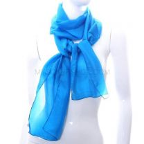 Turquoise Long  Silk Neck Scarf