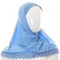 Children's Lace Trim 1 Piece Al Amira Hijab (Blue)