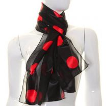 Black & Red Large Polka Dot Satin Stripe Scarf