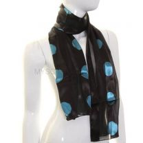Black & Turquoise Large Polka Dot Satin Stripe Scarf