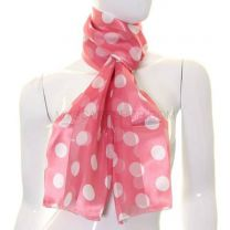 Pink Big Polka Dot Satin Stripe Scarf