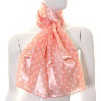 Peach Polka Dot Satin Stripe Scarf