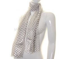 White Small Polka Dot Satin Stripe Scarf
