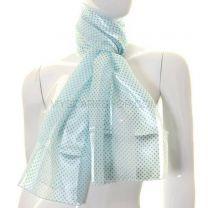 White and Turquoise Mini Polka Dot Satin Stripe Scarf