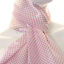 White & Pink Mini Polka Dot Satin Stripe Scarf