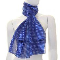 Royal Blue Mini Polka Dot Satin Stripe Scarf