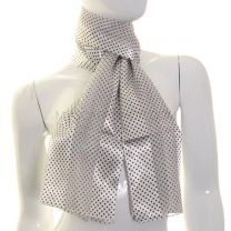Mini Polka Dot Satin Stripe Scarf (Grey & Red)