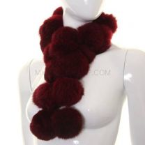 Burgundy Rabbit Fur Pom Pom Scarf (Long)