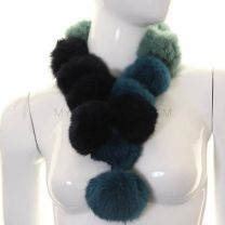 Blue Tone Rabbit Fur Pom Pom Scarf