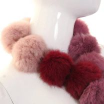 Pink Tone Rabbit Fur Pom Pom Scarf