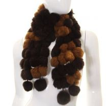Brown Two Tone Rabbit Fur Pom Pom Scarf
