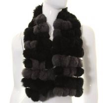 Black Grey Rabbit Fur Pom Pom Scarf