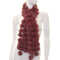 Dusky Pink Rabbit Fur Bobble Scarf