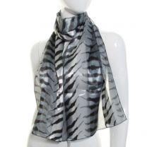 Grey Tiger Satin Stripe Scarf