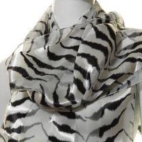 White Zebra Print Satin Stripe Scarf