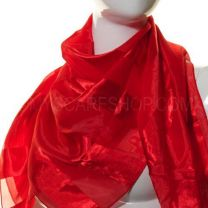 Red Satin Stripe Square Scarf