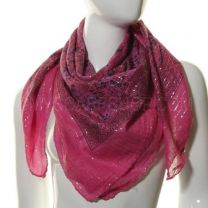Pink Lurex Paisley Square Cotton Scarf