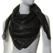 Black Lurex Paisley Square Cotton Scarf