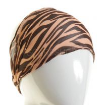 Brown & Peach Zebra Print Chiffon Headband