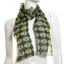 Green Skulls Cotton Neck Scarf