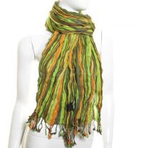 Green Wool Blend Crinkle Stripes Pashmina