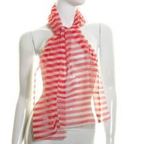 Red Horizontal Stripes Chiffon Scarf