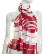 Crimson Stripes Satin Stripe Scarf