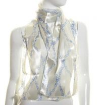 Cream Nautical Chains Satin Stripe Scarf