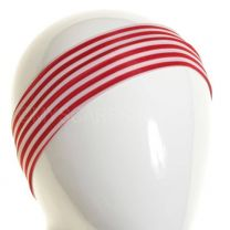 White & Red Stripes Slim Headband