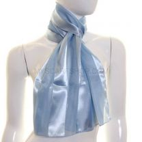 Sky Blue Satin Stripe Scarf