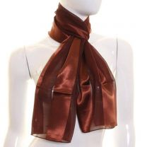 Brown Satin Stripe Scarf