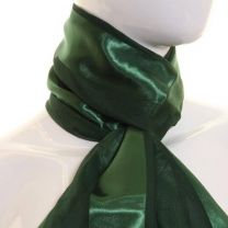 Dark Green Satin Stripe Scarf