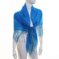 Turquoise Large Square Silk Scarf with Tassels