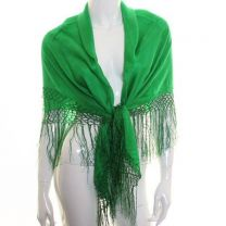 Green Large Square Silk Scarf with Tassels