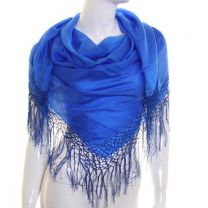 Blue Large Square Silk Scarf with Tassels